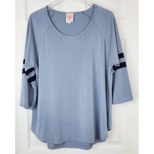 💗Freeloader scoop neck top 3/4 stripped sleeves